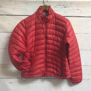 Patagonia puffer jacket, red, size large